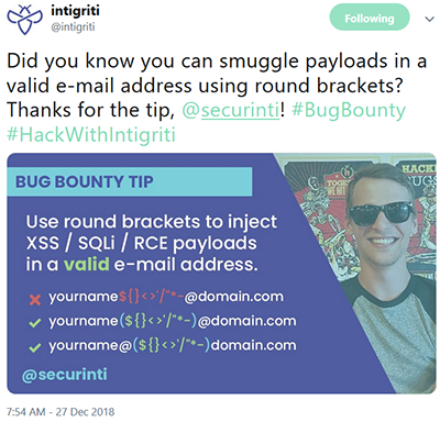 Did you know you can smuggle payloads in a valid e-mail address using round brackets?